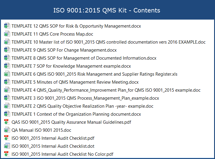 Iso 9001 2015 qms kit for Iso 9001 templates free download