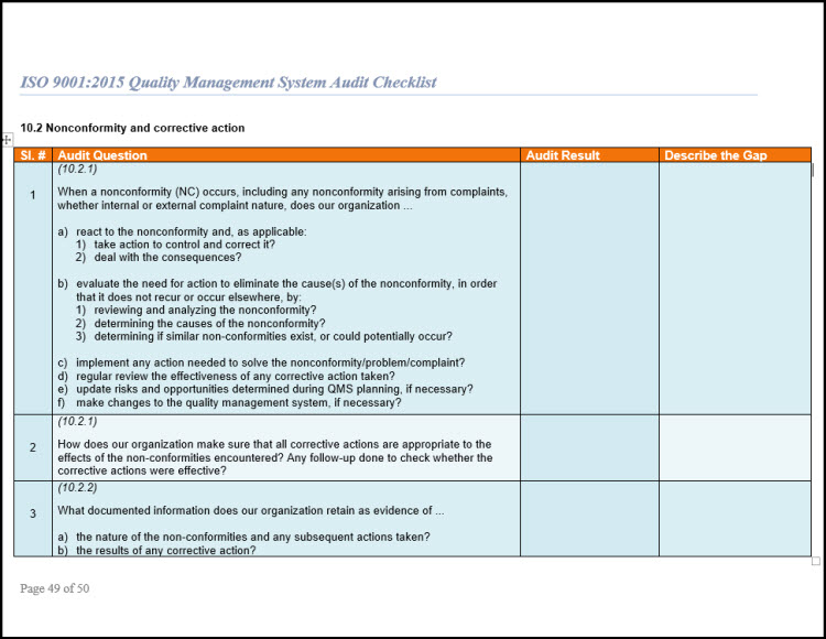 Iso 9001 checklist audit for iso 9001 2015 for Iso 9001 templates free download