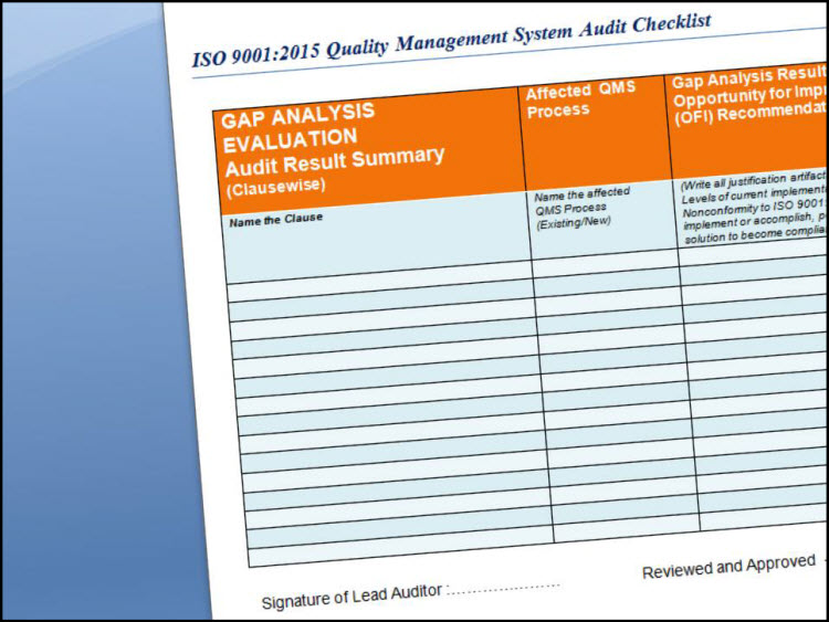 ISO 9001 Checklist Audit for ISO 9001:2015