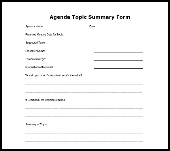 Business meeting agenda format flashek