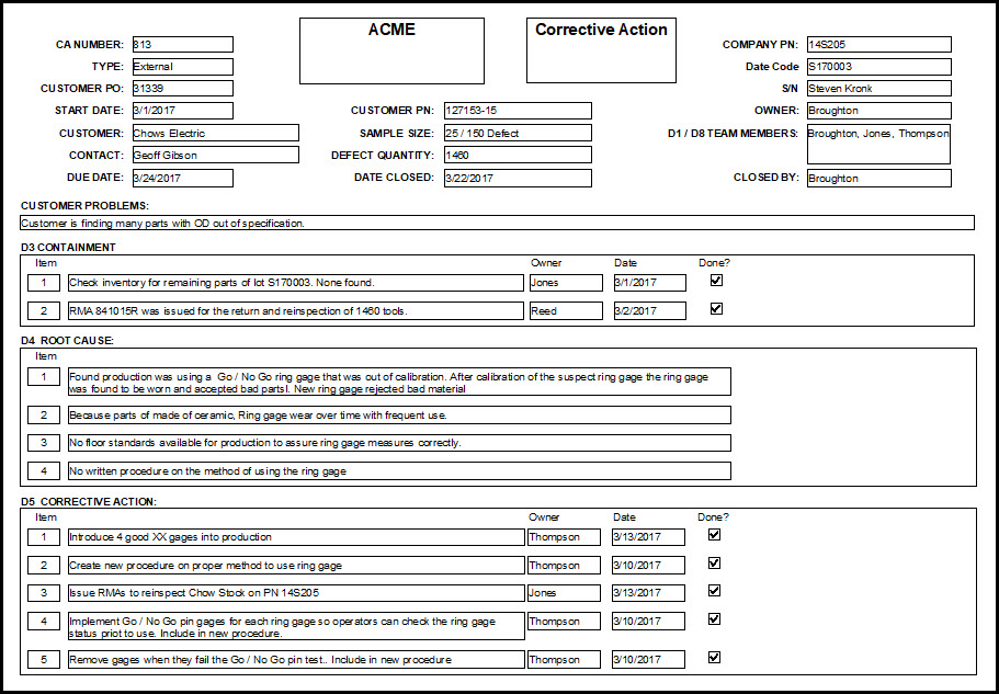 Corrective action forms implementation and measurement tips for 8d form template