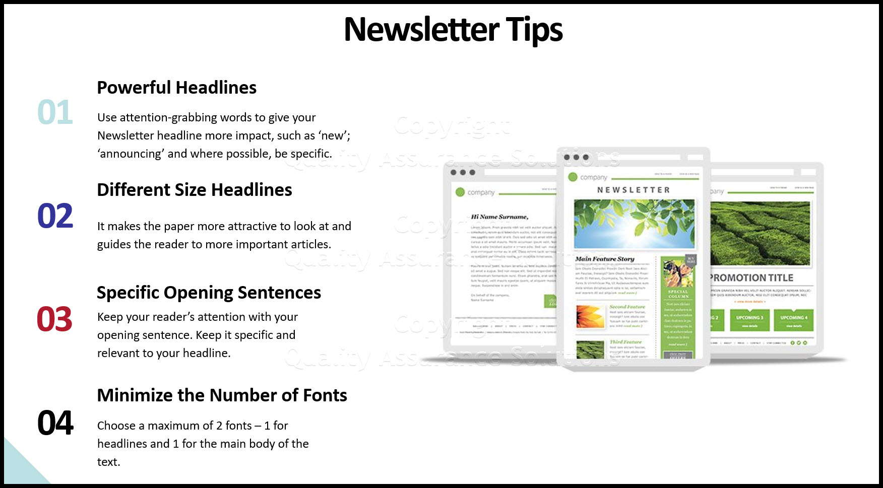how to make a newsletter business slide