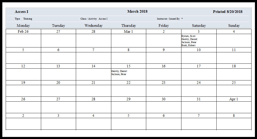 As You Can See Below This Training Attendance Sheet Shows The Employees That Took Cl Access I During Month Of March 2018