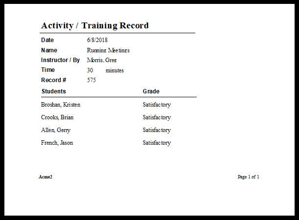 Training Attendance Sheet