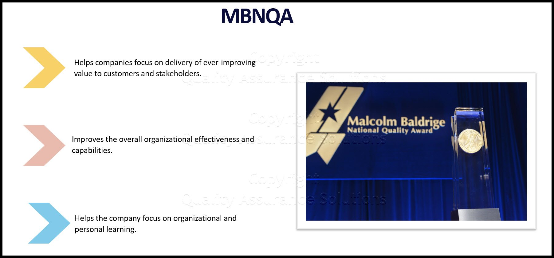 Malcolm Baldrige National Quality Award business slide