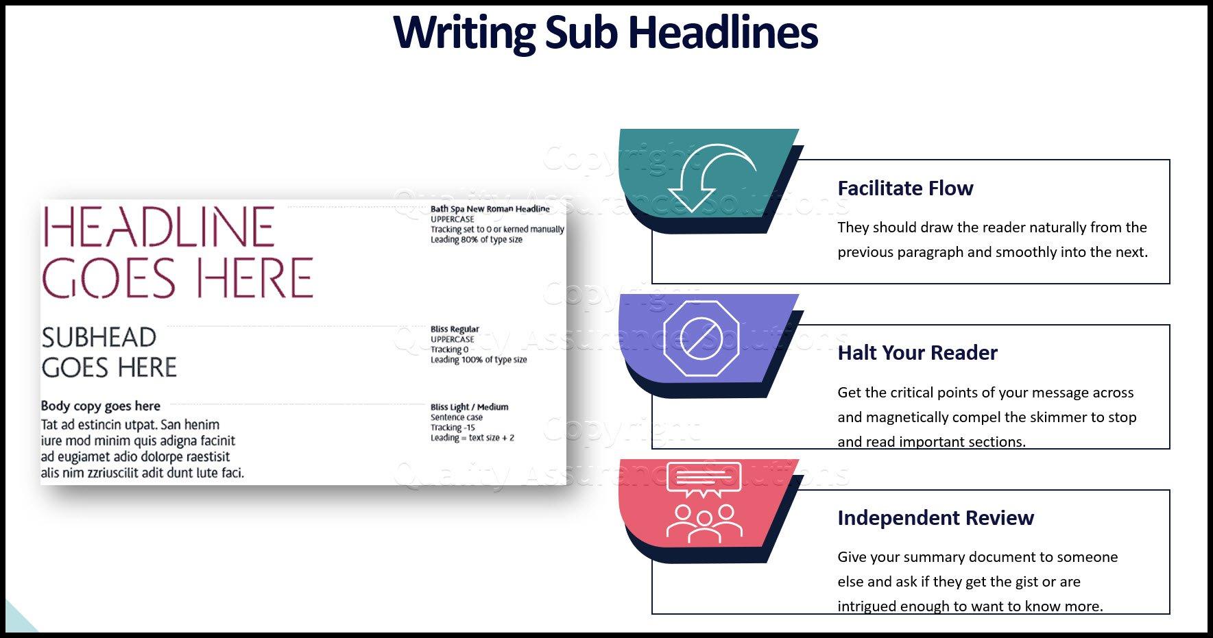 writing subheads business slide